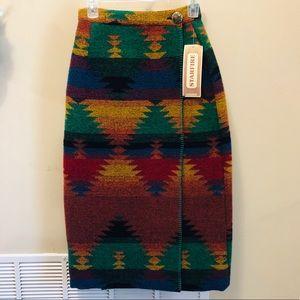 Vintage Southwestern Blanket Wrap Skirt Size 2